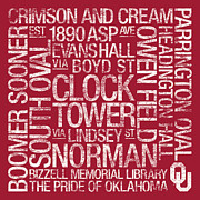 Clock Tower Prints - Oklahoma College Colors Subway Art Print by Replay Photos