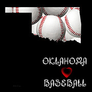 Abstract Map Posters - Oklahoma Loves Baseball Poster by Andee Photography
