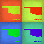 Oklahoma Digital Art Posters - Oklahoma Pop Art Map 1 Poster by Irina  March