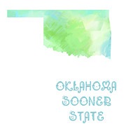 Abstract Map Prints - Oklahoma - Sooner State - Map - State Phrase - Geology Print by Andee Photography