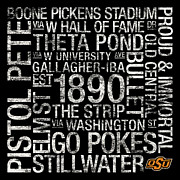 Featured Metal Prints - Oklahoma State College Colors Subway Art Metal Print by Replay Photos