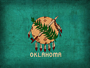 Oklahoma State Flag Art On Worn Canvas Print by Design Turnpike