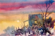 Watercolor Paintings - Oklahoma Sunset by Micheal Jones