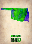 Oklahoma Posters - Oklahoma Watercolor Map Poster by Irina  March