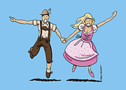Ramspott Prints - Oktoberfest Couple Dancing Together Print by Frank Ramspott