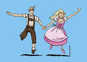 Oktoberfest Couple Dancing Together Print by Frank Ramspott