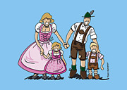 Frank Ramspott Digital Art - Oktoberfest Family Dirndl And Lederhosen by Frank Ramspott