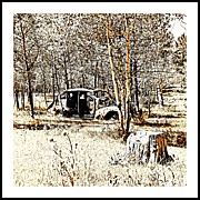 Ol Car Square Format Print by Barbara Henry