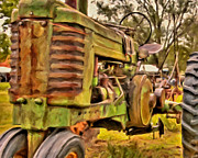 Old Tractors Paintings - Ol John Deere by Michael Pickett