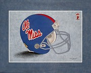 Sec Painting Posters - Ol Miss Rebels Helmet Poster by Herb Strobino
