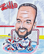 Goalie Drawings Posters - Olaf Kolzig Poster by Paul Nichols