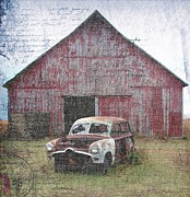 Rural Decay  Digital Art - Old Abandoned Car and Barn by Cassie Peters