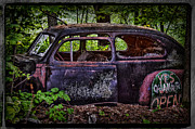 Quaker Posters - Old Abandoned Car In The Woods Poster by Paul Freidlund