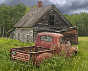 Rusted Cars Prints - Old Abandoned Homestead and Truck Print by Randall Nyhof