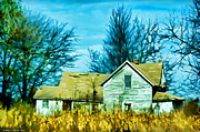Rural Decay  Digital Art - Old abandoned house Digital paint by Debbie Portwood