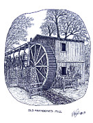 Pen And Ink Historic Buildings Drawings Drawings - Old Abandoned Mill by Frederic Kohli