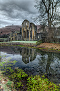 Fish Pond Prints - Old Abbey Print by Adrian Evans