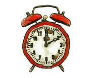 Clock Hands Digital Art Posters - Old Alarm Clock Poster by Michal Boubin