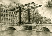 Bridge Drawings - Old Amsterdam - Drawing Illustration by Peter Art Prints Posters Gallery