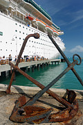 Anchor Photos - Old Anchors Near Cruise Ship by Amy Cicconi