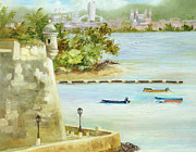 San Juan Paintings - Old and New San Juan by Monica Linville