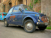 Fiat 500 Framed Prints - Old and rusted Fiat 500 in Rome Framed Print by Vlad Baciu