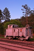 Old Caboose Posters - Old and Weathered Caboose Poster by John Malone