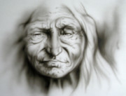 Old Face Painting Framed Prints - Old as the Mountains Framed Print by Robert Martinez