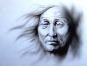 Blowing Hair Prints - Old as the Winds Print by Robert Martinez