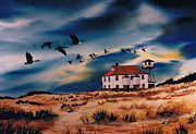 Coast Guard Painting Posters - Old Assateague Coast Station Poster by Raymond Edmonds