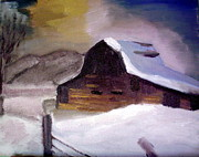 Old Barns Paintings - old Barn by AJ Devlin