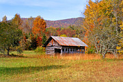 Old Cabins Prints - Old Barn along Slick Fisher Road Print by Duane McCullough
