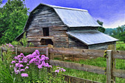 Tin Roof Posters - Old Barn and Flowers Poster by Kenny Francis