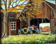 Old Barn Paintings - Old Barn and Old Car by Kenneth  LePoidevin