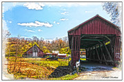 Farm Life Framed Prints Prints - Old Barn And Older Covered Bridge Print by Randall Branham