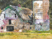 Rural Decay  Digital Art - Old barn and Silos Digital Paint by Debbie Portwood