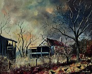 Pol Ledent - Old barn and three hens