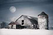 Snowy Night Photos - Old Barn and winter moon by Gary Heller