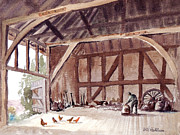 Old Barn Paintings - Old Barn At Amberley Sussex by Bill Holkham