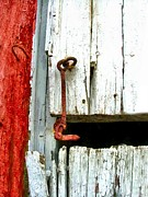 Julie Dant Photo Posters - Old Barn Door Hook Poster by Julie Dant