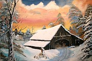 Winterscape Painting Originals - Old Barn Gaurdian by Sharon Duguay