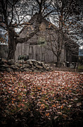 Fall Leaves Prints - Old barn in Autumn Print by Edward Fielding