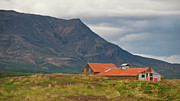 Tin Roof Posters - Old barn in beautiful Icelandic landscape Poster by Marianne Campolongo