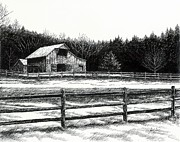 Pen And Ink Drawing Of Franklin Tennessee Drawings Prints - Old Barn in Franklin Tennessee Print by Janet King