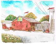 Watercolors Painting Originals - Old barn in Lompoc - California by Carlos G Groppa
