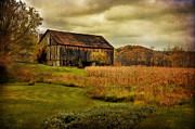 Dilapidated Digital Art Posters - Old Barn In October Poster by Lois Bryan