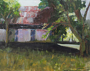 Old Barn Paintings - Old Barn in sunlight by Sandy Lane