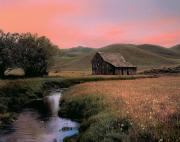 Old Barns Metal Prints - Old barn in the Pioneer Mountains Metal Print by Leland Howard