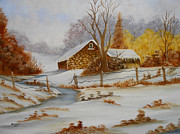 Old Barn Paintings - Old Barn in Winter by Darlene Prowell
