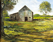 Shed Painting Framed Prints - Old Barn Framed Print by Lee Piper